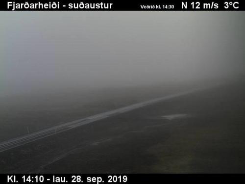 Webcam Bild Fjardarheidi auf Island, 28.9. 2019, 12m/s 3°C