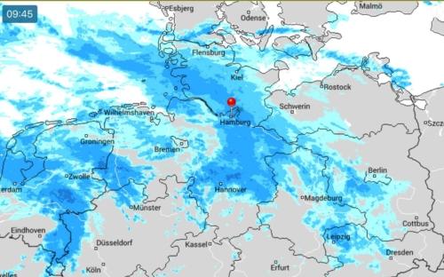 Regengebiet über Hamburg