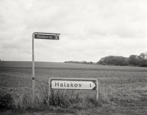 Nach Halskov. Straßenschild und Feld aufgenommen mit 4x5 Großformat Schwarzweiß Kodak PlusX Pan