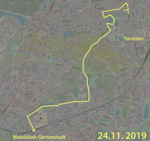 Karte der Wegstrecke entlang der Osterbek von Farmsen nach Wandsbek-Gartenstadt
