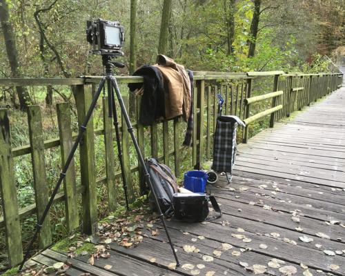 4x5 Kamera aufgebaut auf dem Pioniersteg vor Bergedorf