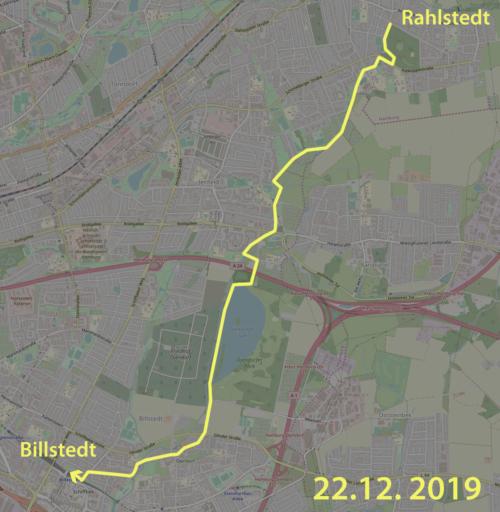 Karte Wegstrecke Spaziergang am Schleemer Bach von Rahlstedt nach Billstedt in Hamburg