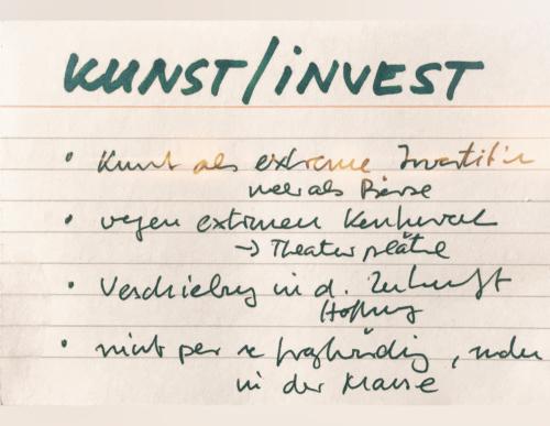 Karteikarte Kunst als Investition - Stichworte