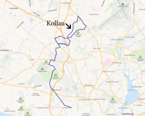 Karte Wegstrecke entlang der Kollau von Eidelstedt nach Niedorf in Hamburg