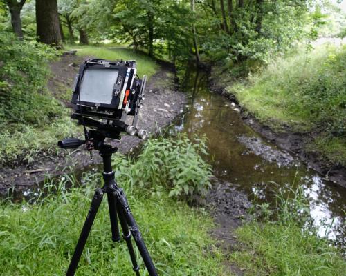 Kamera an der Kollau aufgebaut