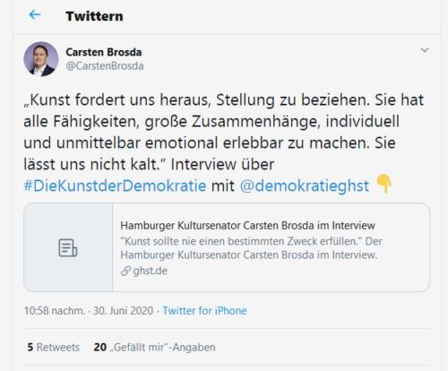 Kunst fordert uns heraus. Tweet des Hamburger Kultursenators Carsten Brosda.