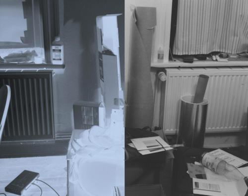 Röntgenfilm Split: links das bläuliche Negativ.  Rechts die Umkehrung in normales Schwarzweiß.