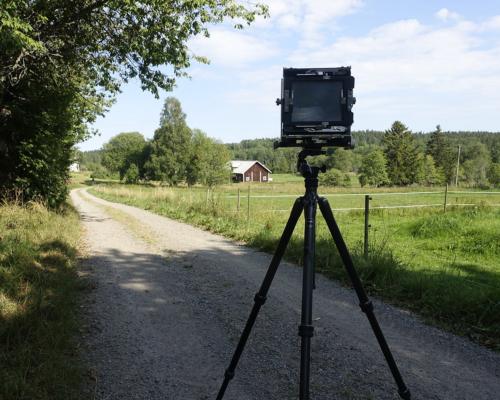4x5 Kamera aufgebaut in Karstorp