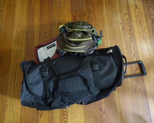 Reisegepäck. Fertig gepackt für Schweden.