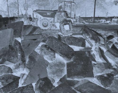 Baustelle Bleickenallee. Aufnahme auf CEA OGA Röntgenfilm im Format 4x5