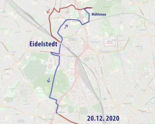 Karte Spazierung in und um Eidelstedt und zurück über den Volkspark nach Altona