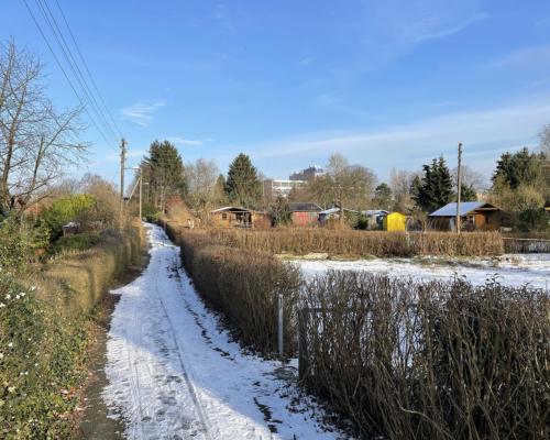 Kleingarten mit etwas Schnee in Bahrenfeld
