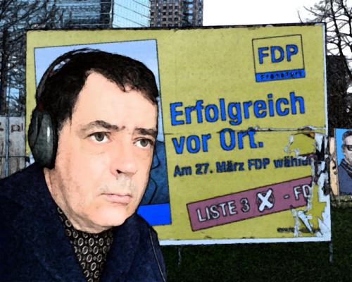 Auf Sendung mit Wahlkampfmotiv aus Frankfurt im Hintergrund
