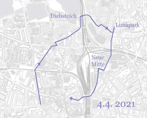 Karte Wegstrecke Spaziergang Diebsteich