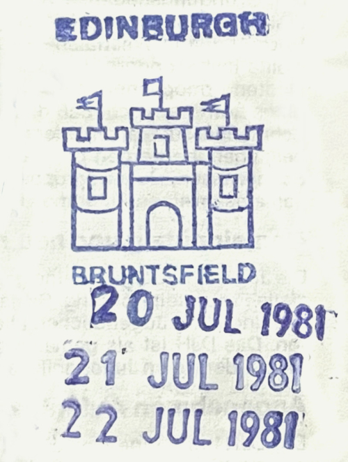 Stempel Jugendherberge Edinburgh 1981