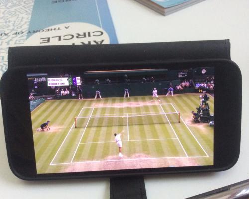Wimbledon Endspiel auf kleinem Bildschirm