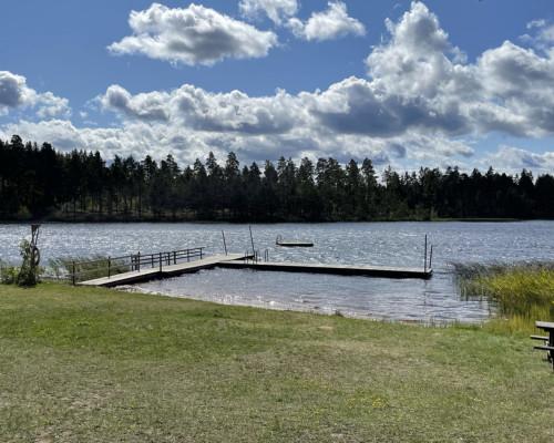 Einsamer Badplats am Stockerydsjön