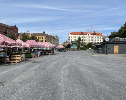 Marktplatz Möllevångstorget am Morgen